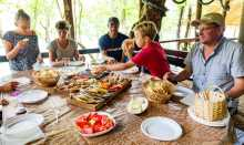A family eating at the Tara Sport Rafting Club