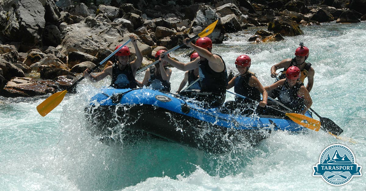 Rafting safety Tara river falling in the water
