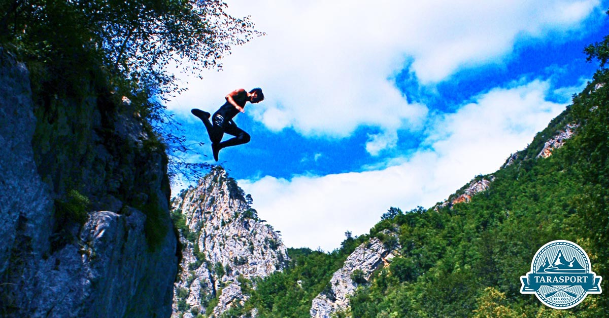cliff jumping canyoning and mountain river Tara